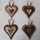 AB20 Heart Ornaments Upcycled from Modern Fabric & Wallpaper Samples