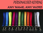 Personalised keyring MINI LANYARD with your NAME TEXT custom made GREAT for Keys