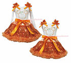 Pumpkin Minnie Halloween White Top Orange Bling Sequins Girls Skirt Outfit 1-8Y