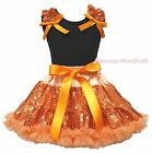 Halloween Black Top Orange Bling Sequins Girls Skirt Clothing Outfit Set 1-8Year