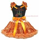 Christmas Lighting Black Top Orange Bling Sequins Girls Skirt Outfit Set 1-8Year