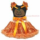 Halloween Rhinestone Pumpkin Black Top Orange Bling Sequins Girls Skirt Set 1-8Y