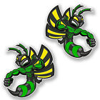 2 x 10cm Green Hornet Wasp Vinyl Stickers Bike Helmet Cool Laptop Decal #6465