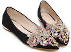 Womens Low Heels Diamond Lace Pointy Toe Ballet Flat Wedding Bride Party Shoes