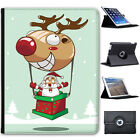 Santa Reindeer Christmas Fun & Frolics Folio Cover Leather Case For Apple iPad