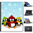 Christmas Holiday Season Penguins Folio Cover Leather Case For Apple iPad