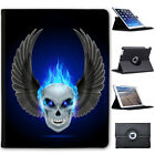 Flaming Fire Skulls Folio Cover Leather Case For Apple iPad