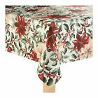 St. Nicholas Square Christmas Holly Berry Poinsettia Printed Fabric Tablecloth