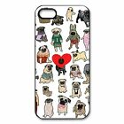 23 Pug Dogs Puppy Cute Breed, Black Rubber Case for iPhone / Galaxy/ Note