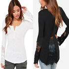 Womens T Shirt Lace Patchwork Long Sleeve Blouse Tops Backless Pullover UK13