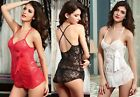 Cute Ladies Lace See Through Babydoll & G-String Set Lingerie Nightwear UK 8-12