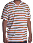 LRG Men's White Stripe Premium Fit V Neck Shirt