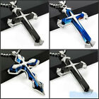 New Unisex's Men Blue Silver Stainless Steel Cross Pendant Necklace Chain