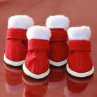 4pcs Dog Shoes Santa Red Christmas Design Pet Chihuahua Snow Cozy Boots Apparel