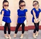 2PCS Fashion Baby Girl Short Sleeve T-shirt +Pants Kids Clothes Outfits Set 2-8Y