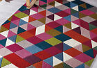 LARGE MEDIUM MODERN PRISM PINK BLUE BROWN GREEN THICK WOOL HIGH QUALITY RUGS