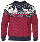 D555 Big & Tall Mens Jacquard Crew Neck REINDEER Christmas Jumper Sweater