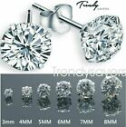 WOMEN MEN GENUINE 925 SOLID STERLING SILVER CUBIC ZIRCONIA ROUND STUD EARRINGS  <br/> ✔️100% 925 SOLID SILVER HALLMARK✔️10,000 PAIRS SOLD ✔️