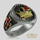 Knights Templar Masonic Ring .925 Silver Freemason Gold 18K Plated by UNIQABLE