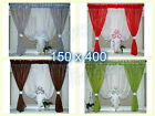 White Voile Net Curtain with Flowers Ready Made Bedroom Living Room New