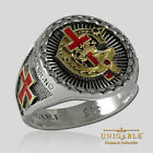 Knights Templar Ring Sterling Silver Masonic Freemason 18K Gold Plated UNIQABLE