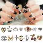 Top Quality 10 Rhinestone Nail Charms Tip Decal Cross Heart Silver Gold Crystal