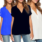Plus Size 8-22 Women Ladies Summer V Neck Tops T-shirt Casual Loose Blouse Tee
