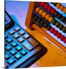 """Abacus and calculator"" Canvas Art Print"