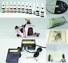 Complete Tattoo Kit Machine Gun 11 Color Inks Needles Power Supply T1