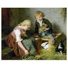Poster Print Wall Art entitled Feeding the Rabbits (oil o...