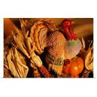 Poster Print Wall Art entitled Ceramic turkey surrounded by harvest vegetables