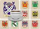 COAT OF ARMS SURNAME (A) DRINKS COASTER