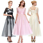 Vintage Style 1940's Applique Long Bridesmaid Dress Evening Masquerade Fit Dress