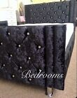 Faux Leather Luxury Black Crystal Diamante Bed Extra Padding Swarovski Crystals