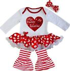 Baby My Daddy is My First Valentine Heart Red White Polka Dot Bodysuit Tutu Pant