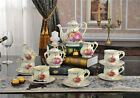 Vintage Art Design Bone China Tea 15 Piece Cups Pot Saucer Sets Dinner Service