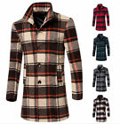 Men's Winter Plaid Trench Coats Jackets Fashion Outdoor Woolen Slim Overcoat New