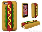Hot Dog Silicone Rubber 3D Novelty New Food Case Cover For iPhone 4 4s 5 5s 5c