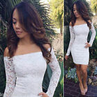 NEW Womens Off Shoulder Bandage Party Slim Fitted WHITE LACE Bodycon Dress S-4XL