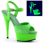 Pleaser DELIGHT-609UVG Platforms Exotic Dancing Neon Green Glitter High Heels