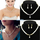 Women Ladies Gold & White Pearl Pendant Necklace Earrings Set Wedding Jewelry