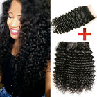 3 bundles Brazilian Virign Curly Weft 150g& 1pc Lace Closure Curly Free part