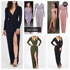 WOMENS LADSIES CELEBRITY LONG SLEEVE SLINKY SLIT GATHERED OPEN BACK MAXI DRESS