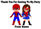 Personalised SUPERHERO Thank You Stickers for Sweet Cones/party bags Ref 06-01