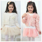 Cute Girls Long Sleeve Tutu Dress + Jacket Outfits Coat With Pearl  Flower 3-6Y
