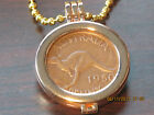 Coin Holder Gold Plated for Australian One Penny Coin Chain-Necklace 50 cm inclu