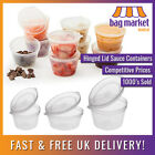 Hinged Lid Clear Plastic Re-usable Sauce Containers | Cups/Pot/Tub/Deli/Takeaway