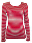 M&S NEW RED STRIPE CONTRAST HEATGEN THERMAL T SHIRT SKI TOP 8-24 RRP £15