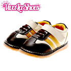 Toddler - Leather Squeaky Shoes - Cream & Dark Brown