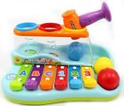 Children's Rainbow Musical Xylophone Pounding Piano Bench w/ Balls Hammer PS856